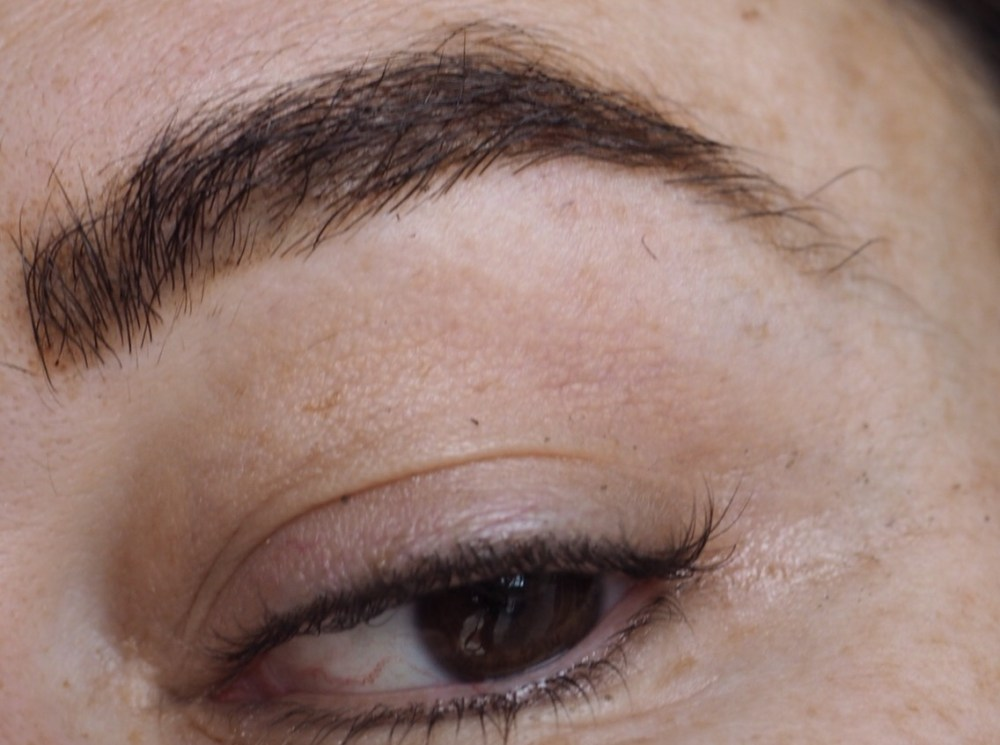 Maybelline Tattoo Brow Peel Off Tint- After Leaving on Overnight Close up brow