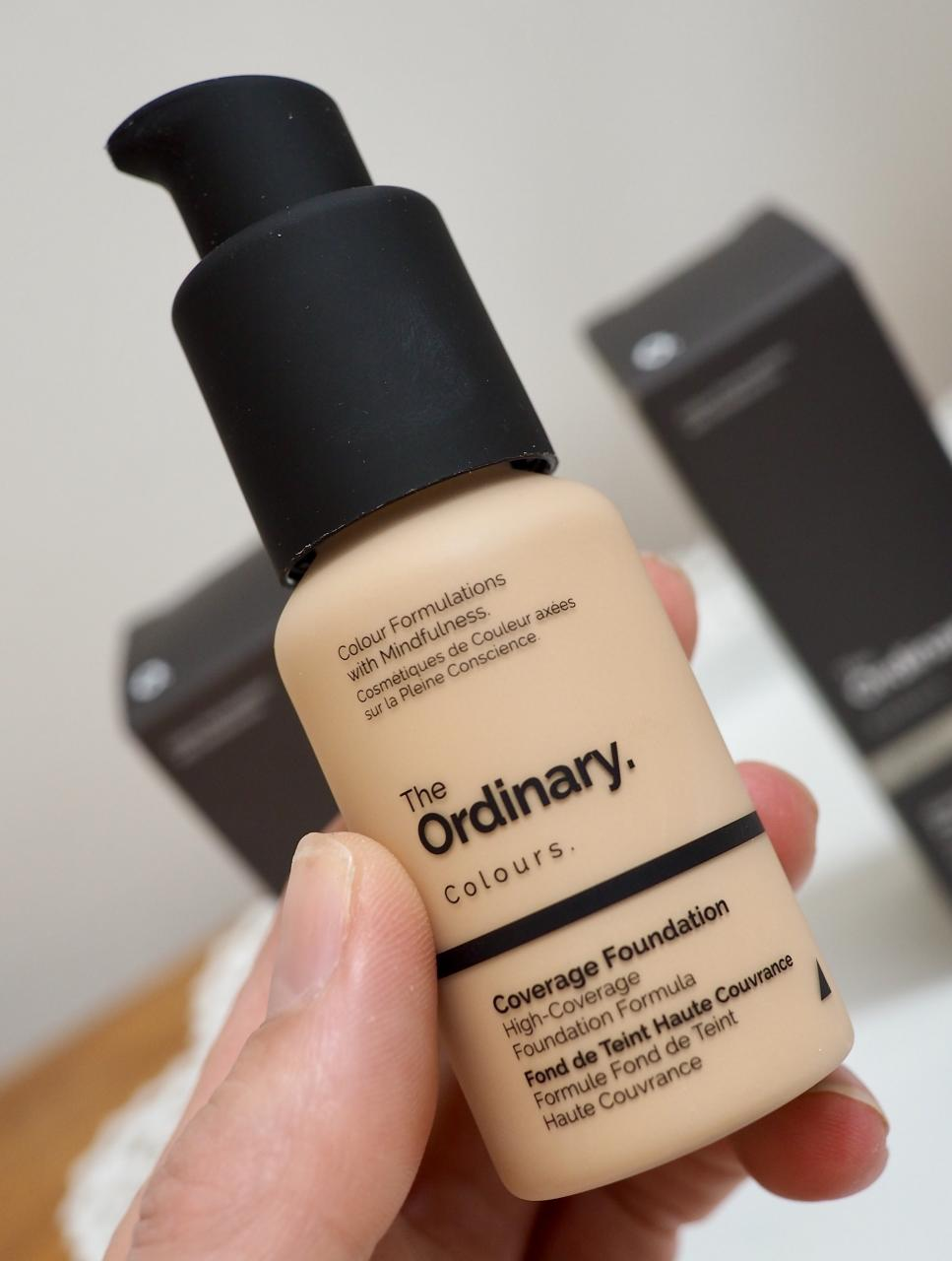 The Ordinary Colours Coverage Foundation Review close up of pump bottle