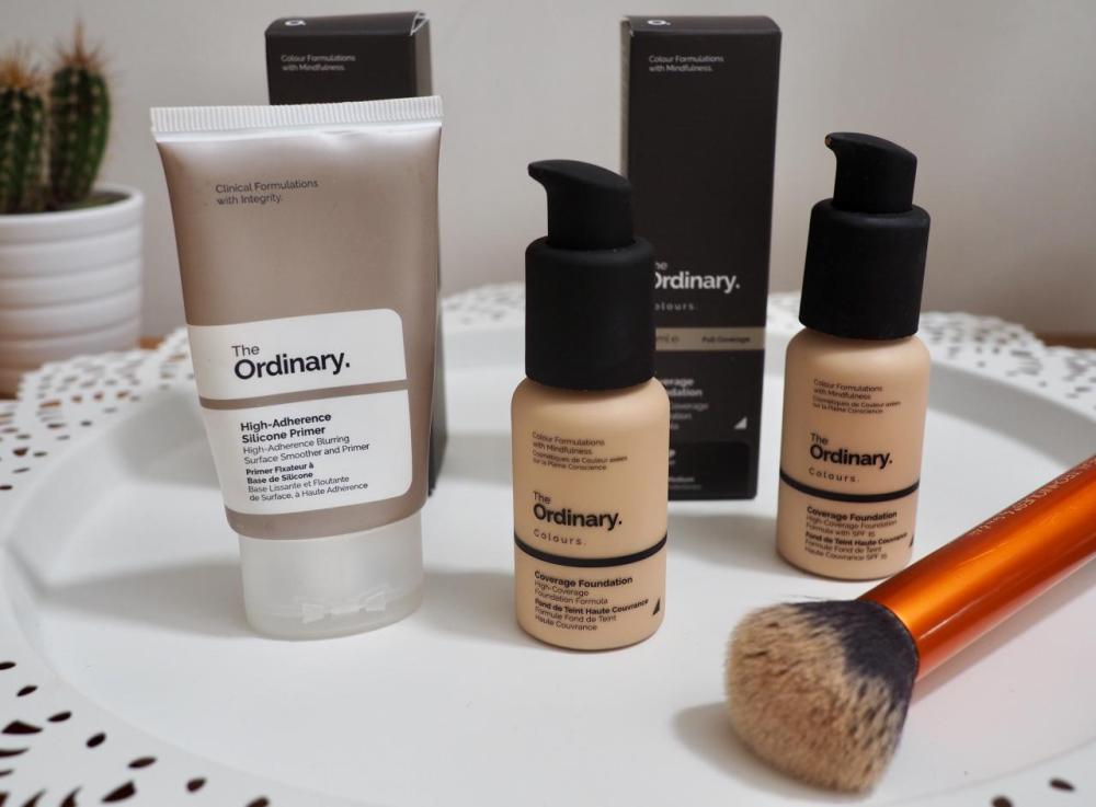 The Ordinary Colours Coverage Foundation Review- pump bottles and primer tube with buffing brush