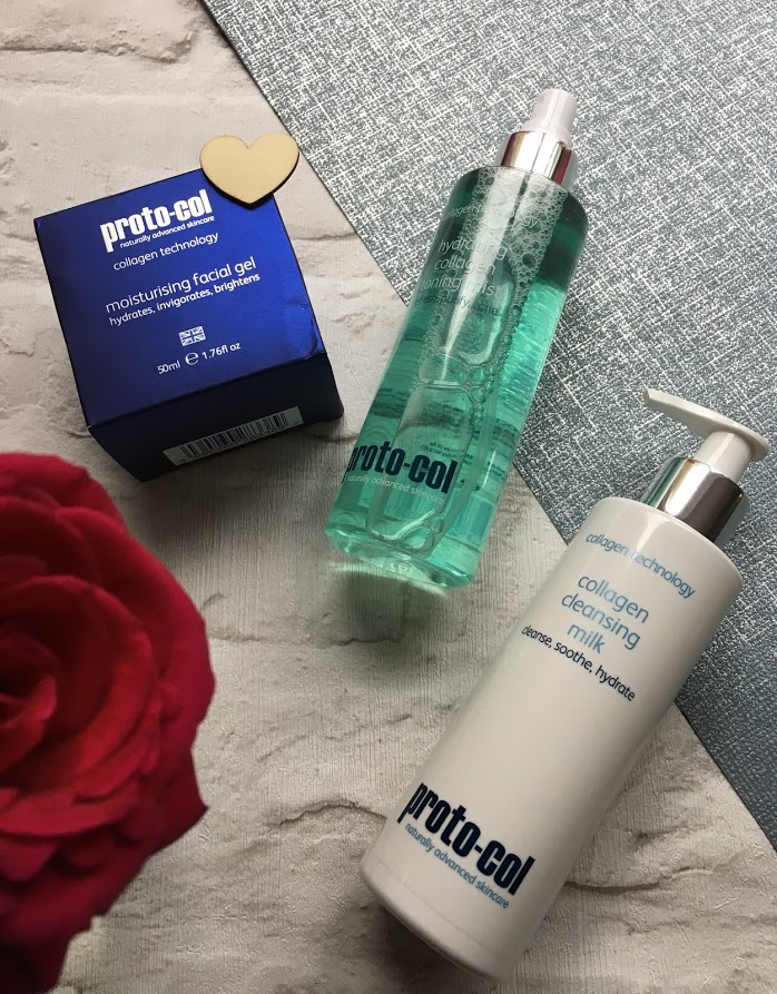 proto-col collagen moisturising gel, cleansing milk and hydrating toner