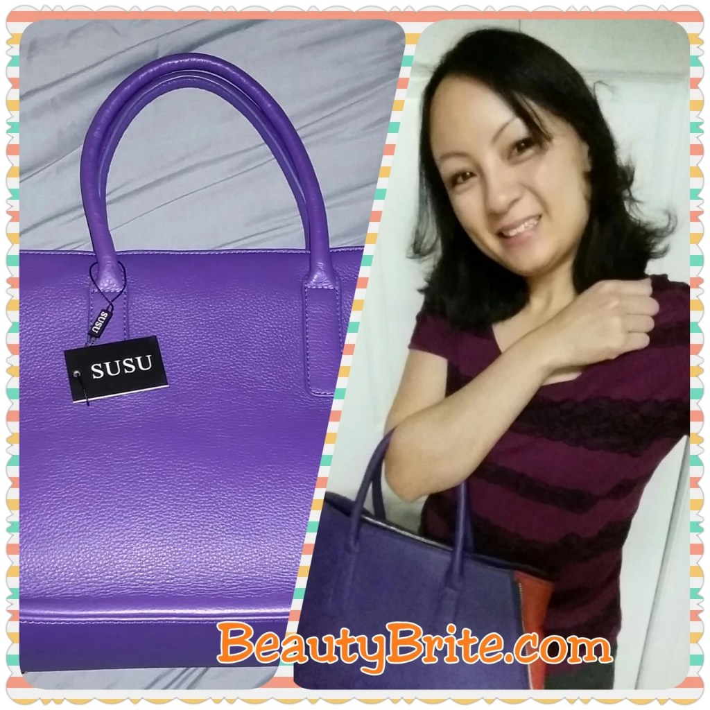 Allen – Two Tone Leather Tote Purple selfie