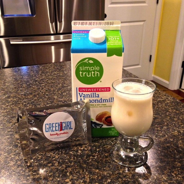 GreekGirl Beauty Protein--Finished Product With Vanilla Almond Milk Over Ice