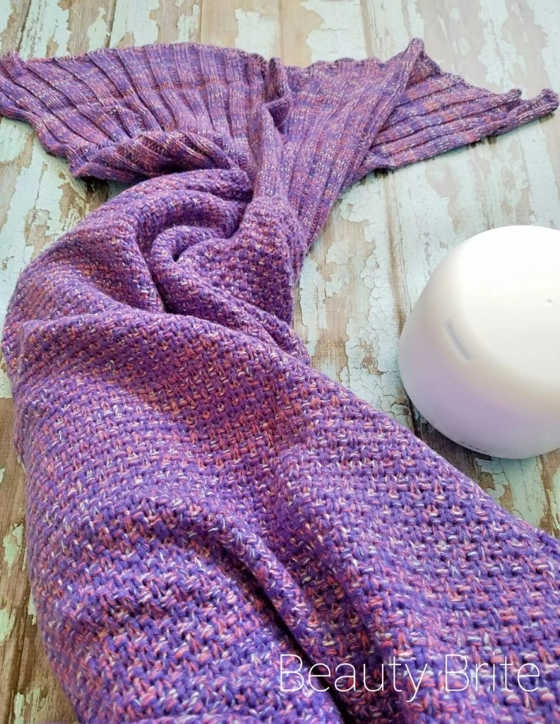 Bundled in Mermaid Tail Blanket