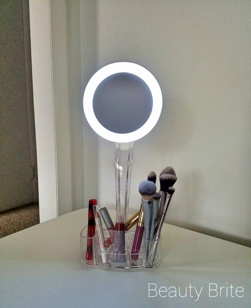 LED Magnified Mirror And Cosmetic Organizer light on