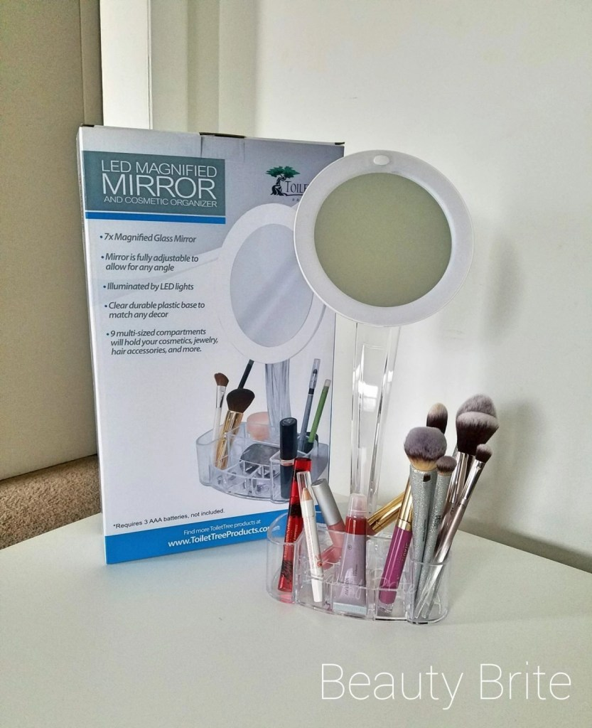LED Magnified Mirror And Cosmetic Organizer