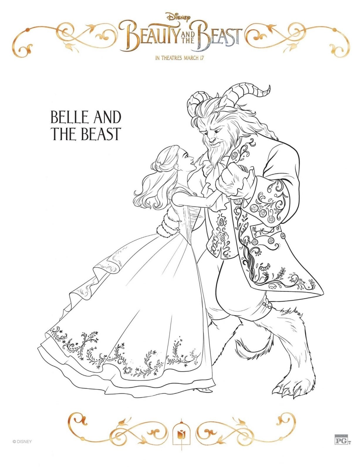 Belle and The Beast Coloring Sheet