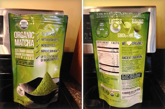 Kiss Me Organics Matcha Green Tea Powder packaging