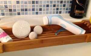ToiletTree Professional Skin Care System Facial Brush and ToiletTree Adjustable Bamboo Bath Caddy