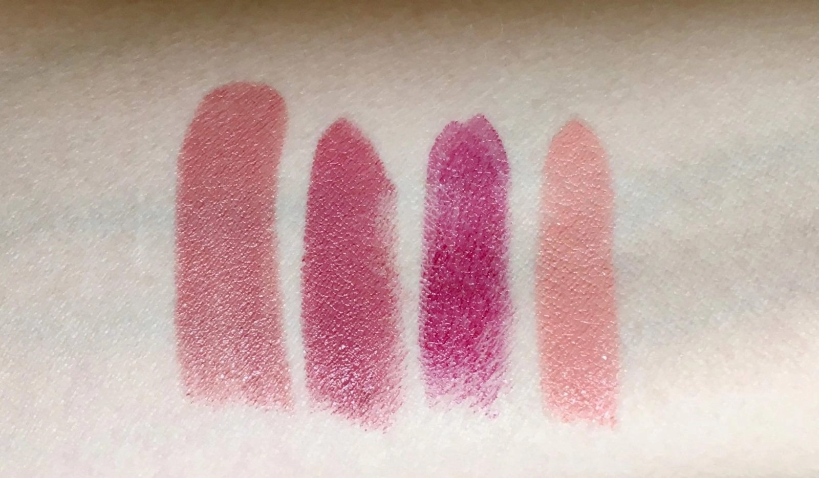 lipsticks swatched on the arm