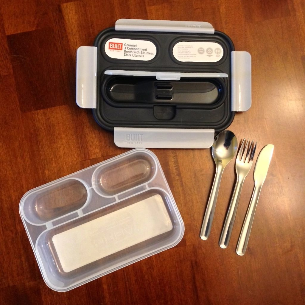 BUILT Home Products-Gourmet 3 Compartment Bento With Stainless Steel Utensils