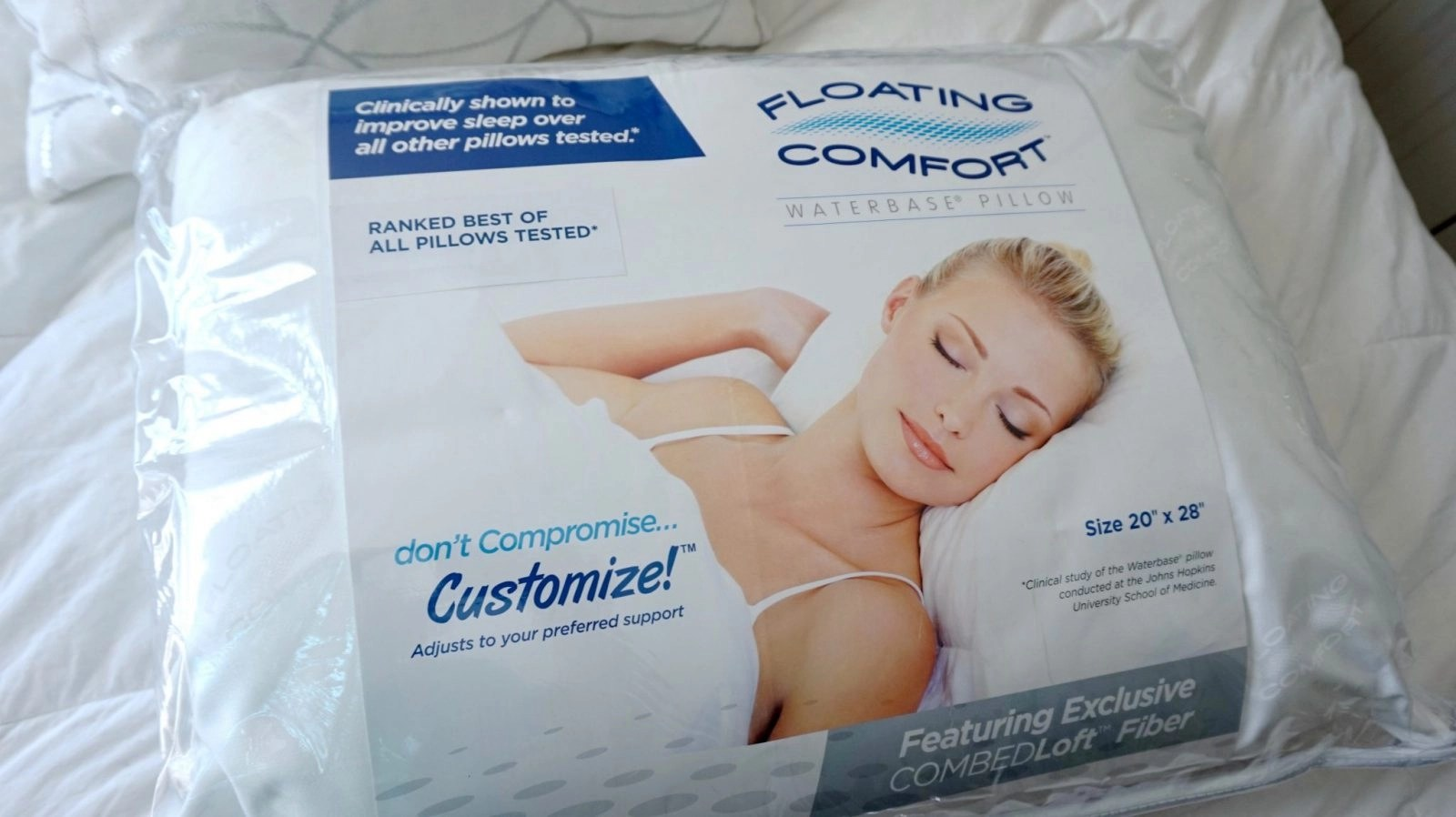 Floating Comfort Front of Packaging
