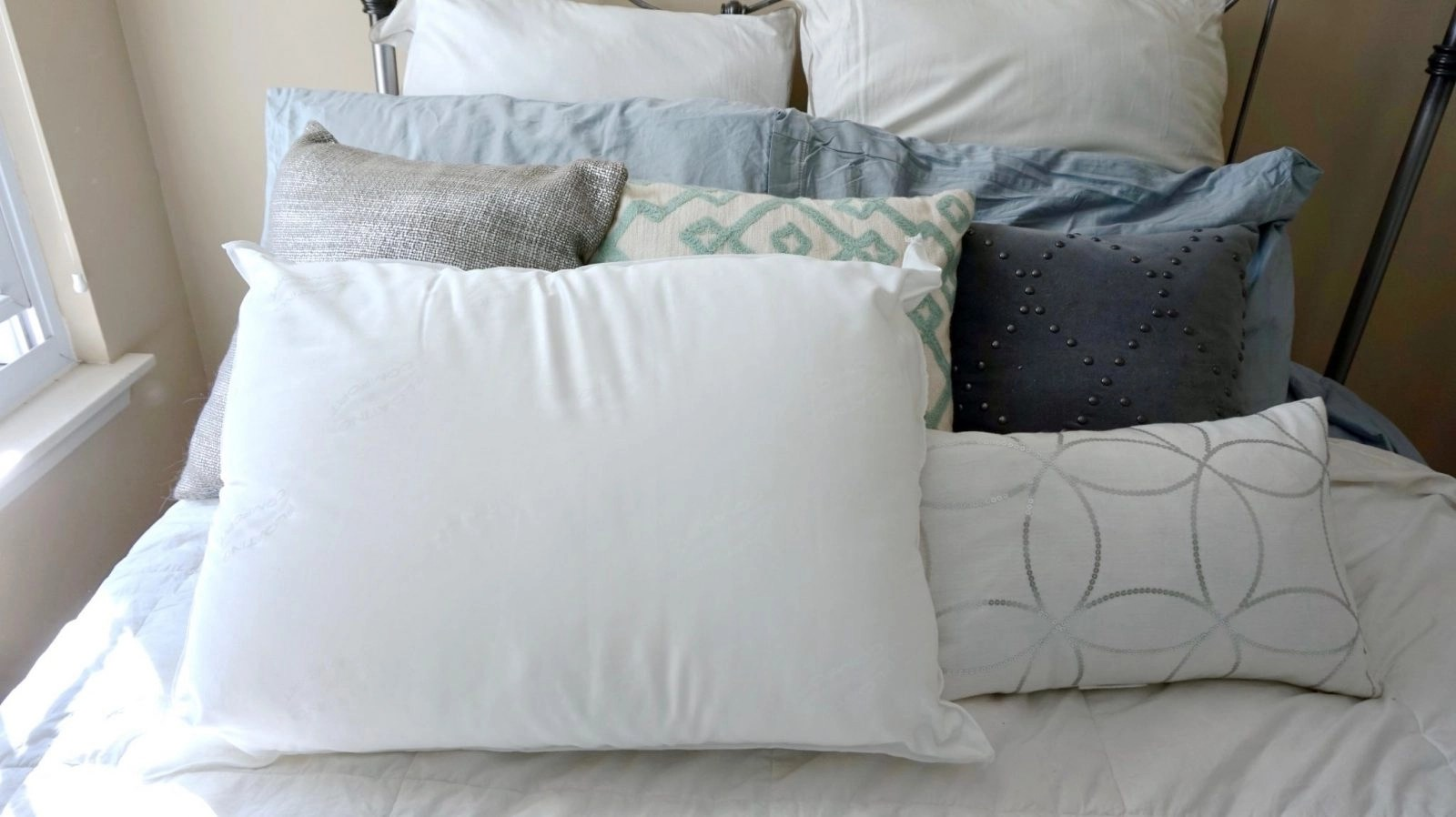 Floating Comfort Waterbased Pillow Placed on Bed