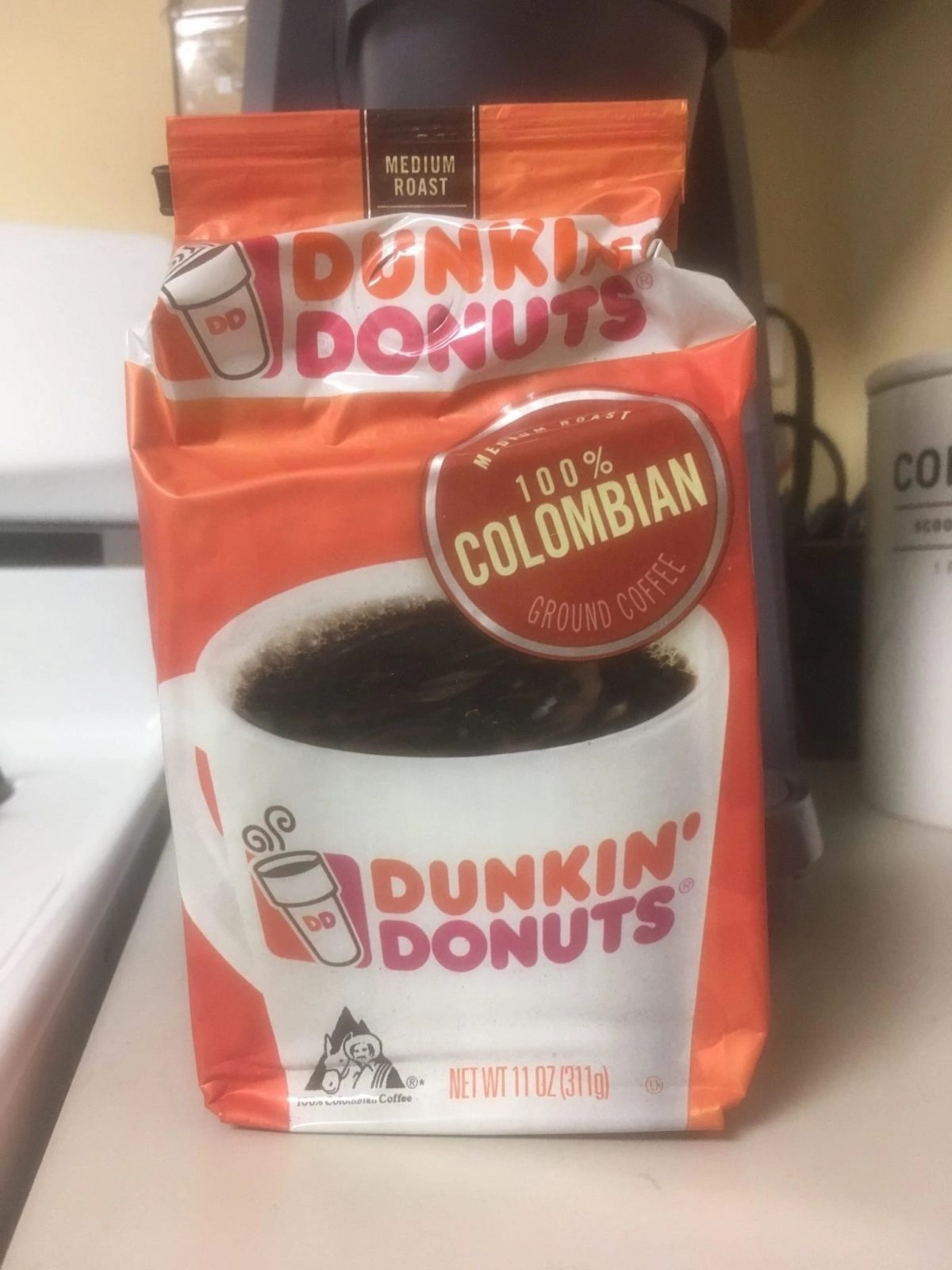 Dunkin Donuts Ground Coffee in kitchen