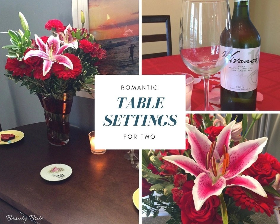 Romantic Table Settings For Two-Vivanco Wines & Teleflora Valentines 2018 Bouquet
