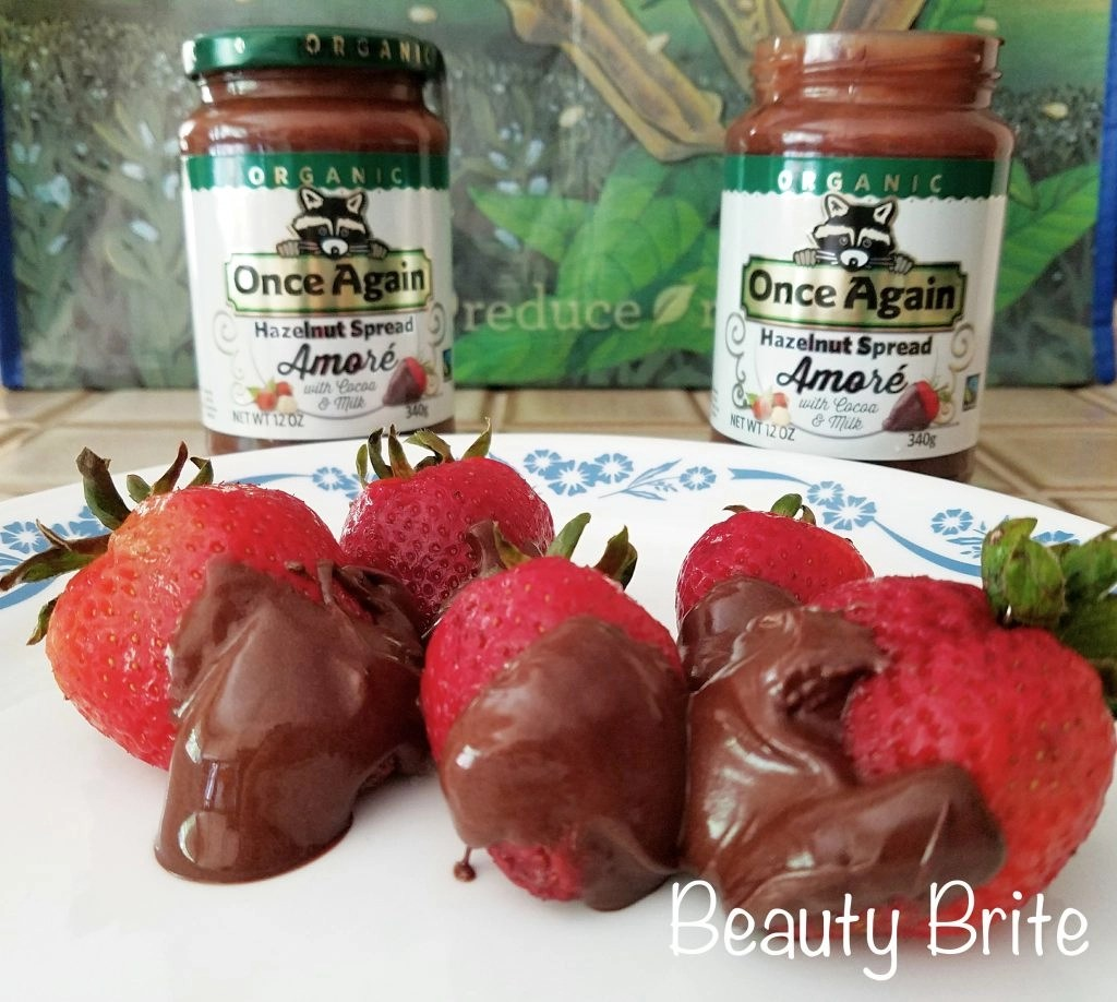 Once Again Nut Butter Amoré Hazelnut Spread with strawberries