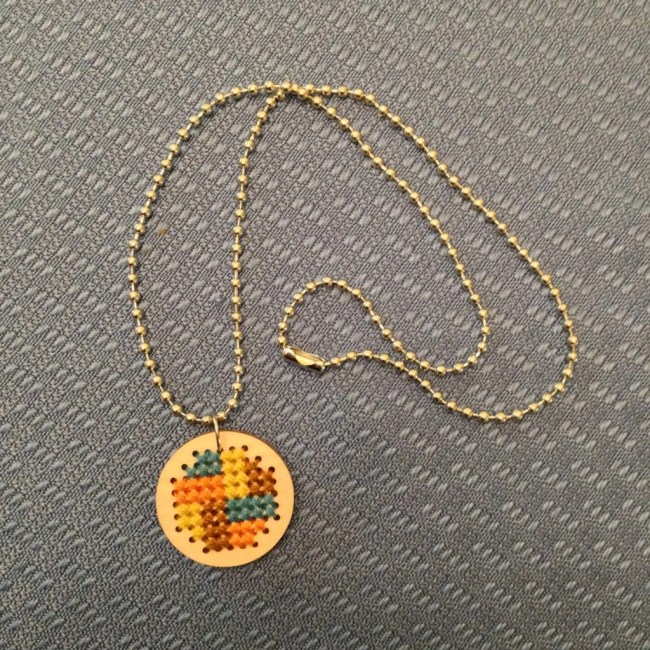 Cross Stitch Wooden Necklace