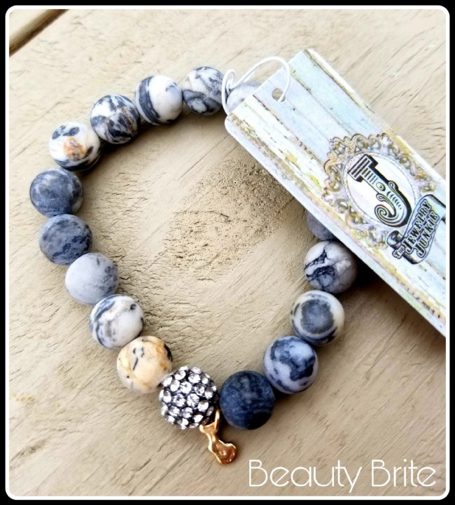 Jewelry Junkie Bar-Gray Netstone with Pave Accent Bead Bracelet