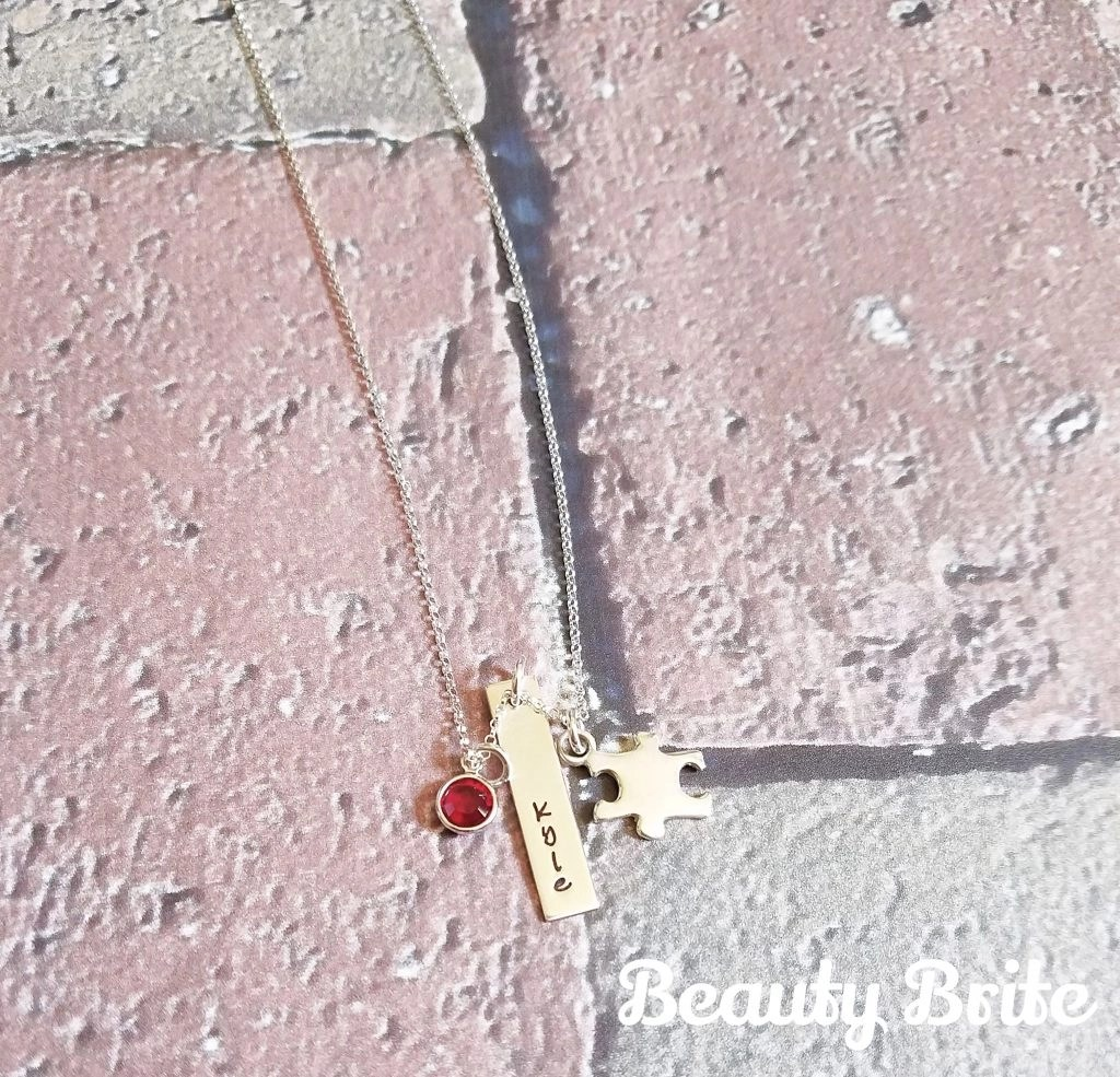 Autism Awareness Rectangle Charm Necklace