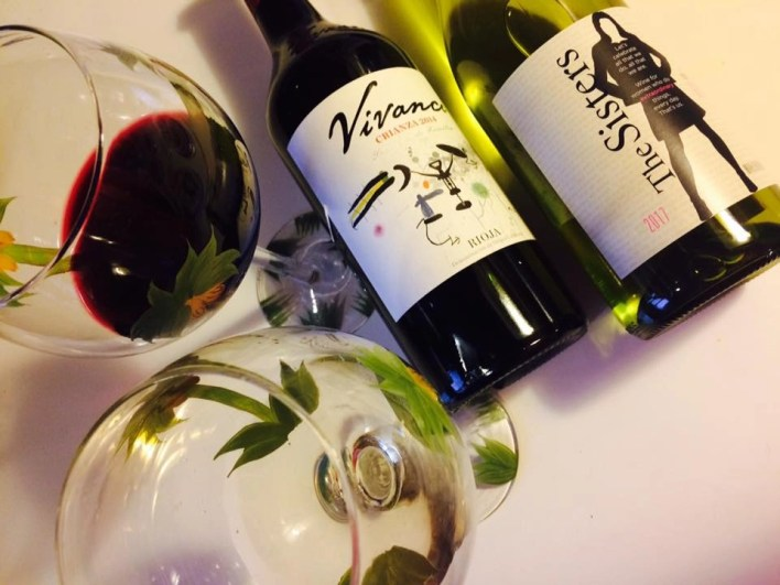 reshly poured Vivanco Crianza Rioja and The Sisters Pinot Gris