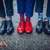 Men's feet with cool looking socks