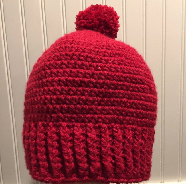 My Stock Photos-Crochet Salt of the Earth Beanie-red with pom pom