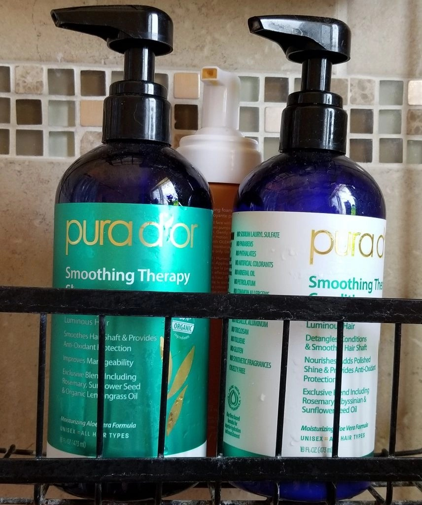 Pura D'or Smoothing Therapy Shampoo and Conditioner in the shower