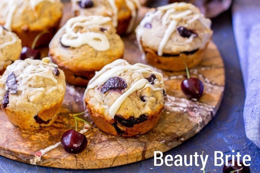 Cherry Almond Muffins upclose