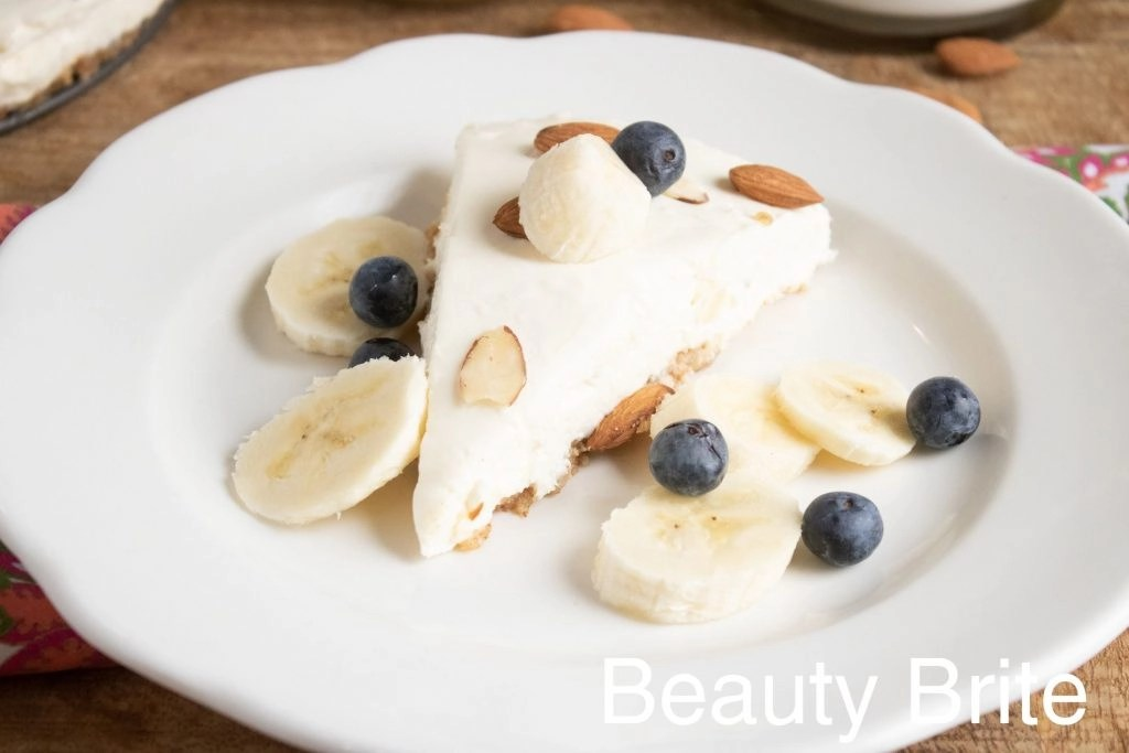 No Bake Almond Cheesecake With Toppings on a plate