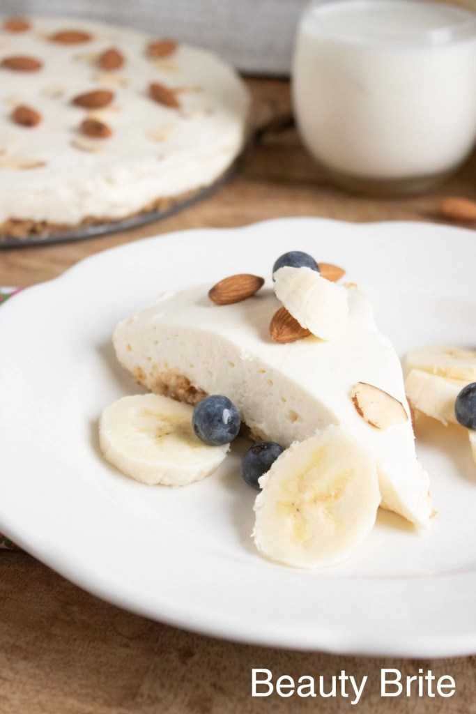 No Bake Almond Cheesecake With Toppings upclose