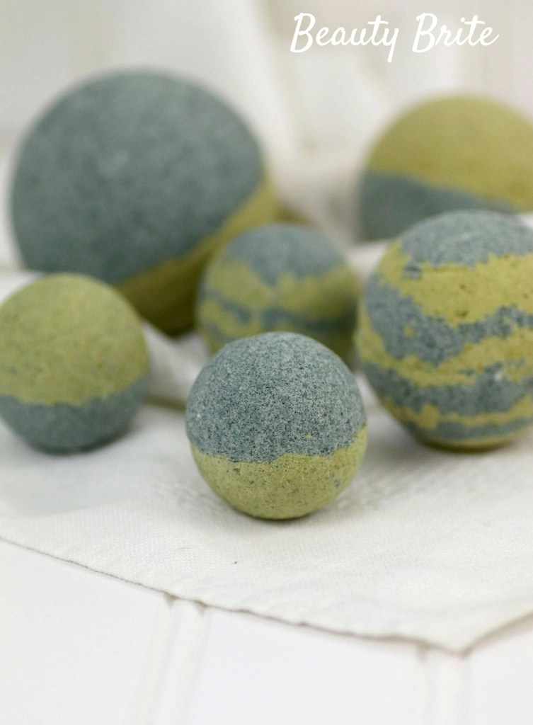 Spirulina Matcha Bath Bombs drying on paper towel