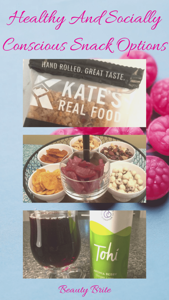 Healthy And Socially Conscious Snack Options--Tohi Aronia Berry Antioxidant Drink-Women's Bean Project Snacks-Kate's Real Food Hand-Rolled Energy Bars