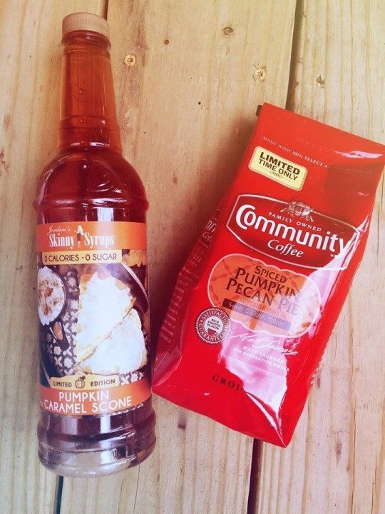 Commnity Coffee Spiced Pumpkin Pecan Pie and Jordans Skinny Syrup