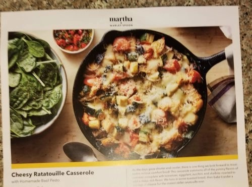 Martha and Marley Spoon - Cheesy Ratatouille Casserole With Homemade Basil Pesto Recipe Card