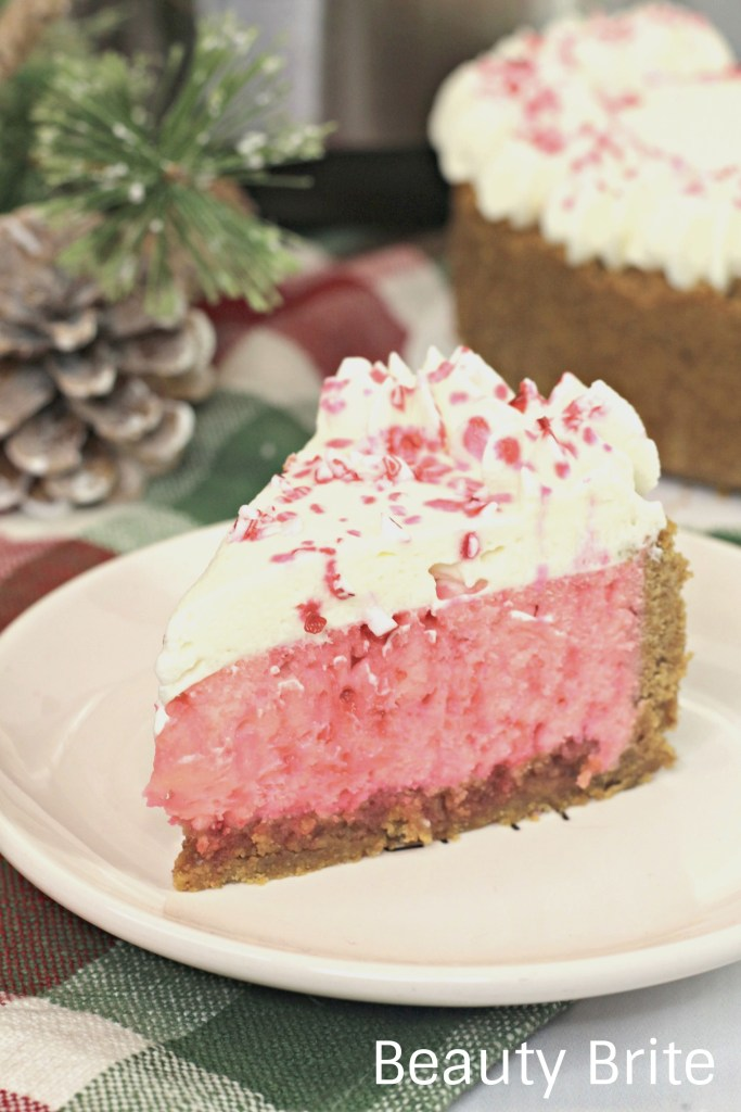 Instant Pot Candy Cane Cheesecake served on a plate