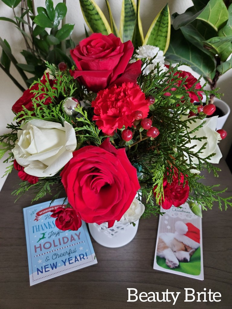 Flurry Of Elegance Bouquet with Christmas cards