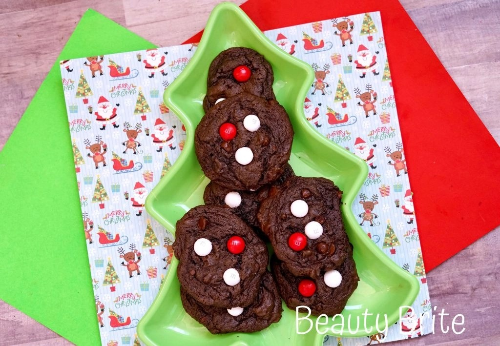 Peppermint MM Chocolate Cookies displayed