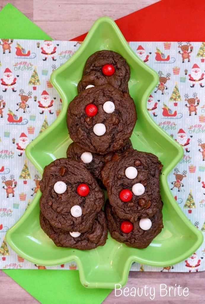 Peppermint MM Chocolate Cookies from above
