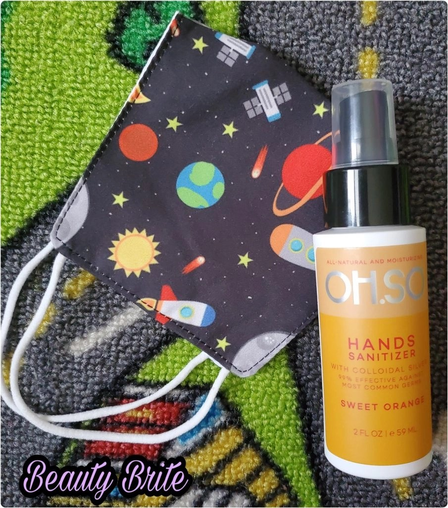 Oh.SO Colloidal Silver Hand Sanitizer in Sweet Orange and Baby Jack & Co Face Mask