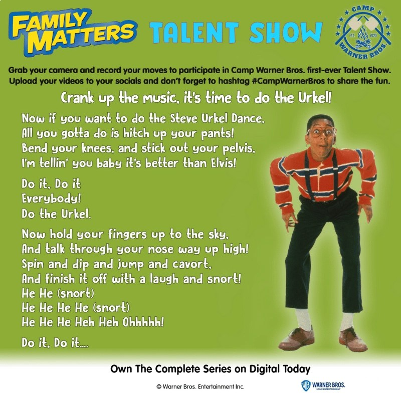 Week 8 Talent Show- do the Urkel