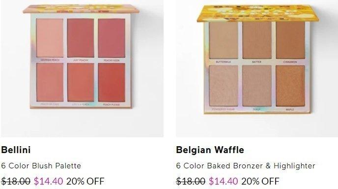 Bellini Paleta de blush de 6 cores. Waffle belga 6 cores bronzeador e paleta iluminador