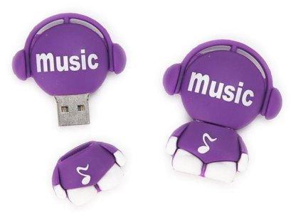 USB-stick paars Music