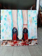 high heels schilderij