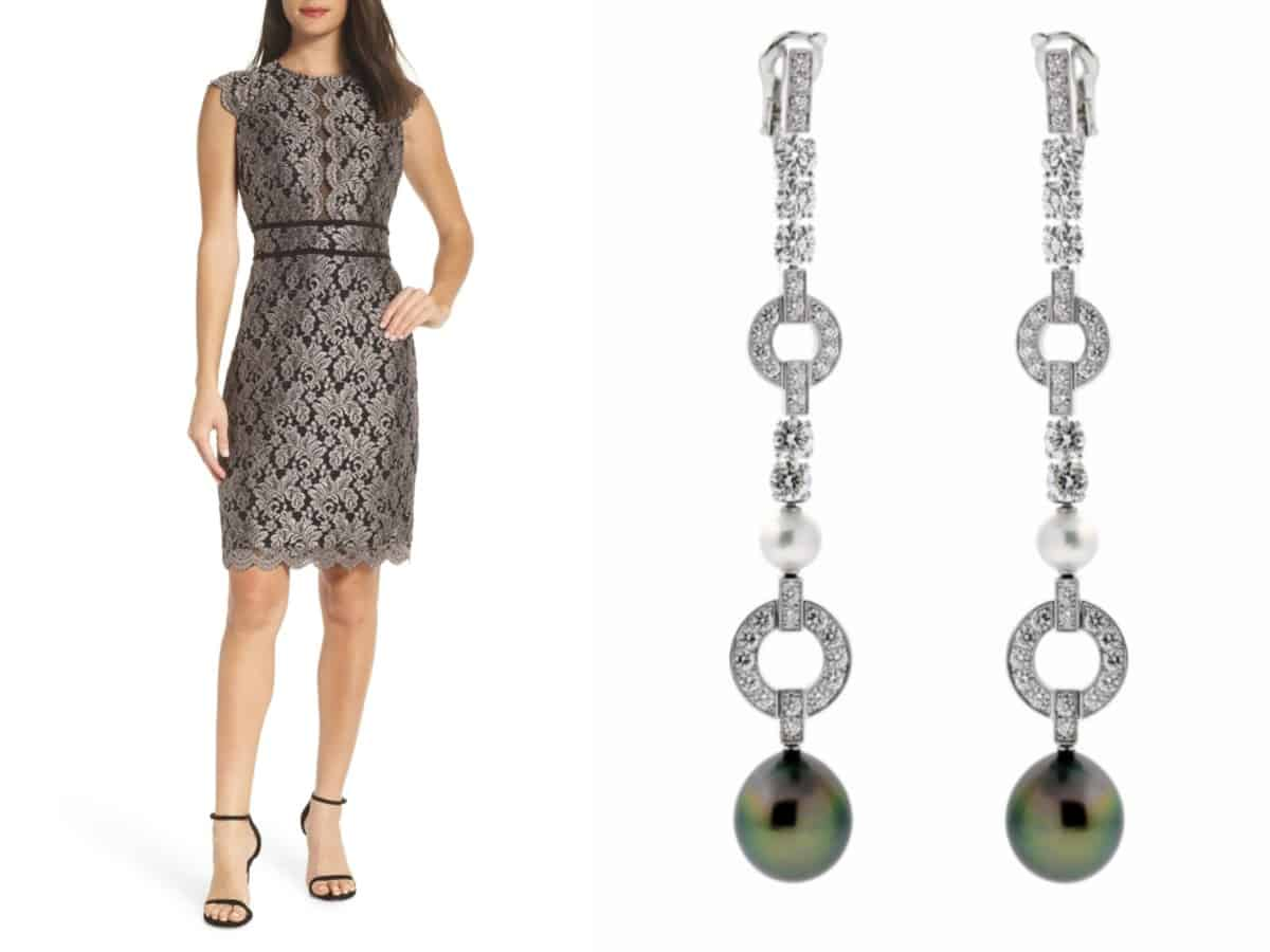"""""""5 Must-Have Dresses Every Woman Needs in their Closet""""  Morgan & Co. Scallop Detail Lace Dress //Nordstrom  Cartier Himalia Pearl Diamond White Gold Earrings // Opulent Jewelers"""