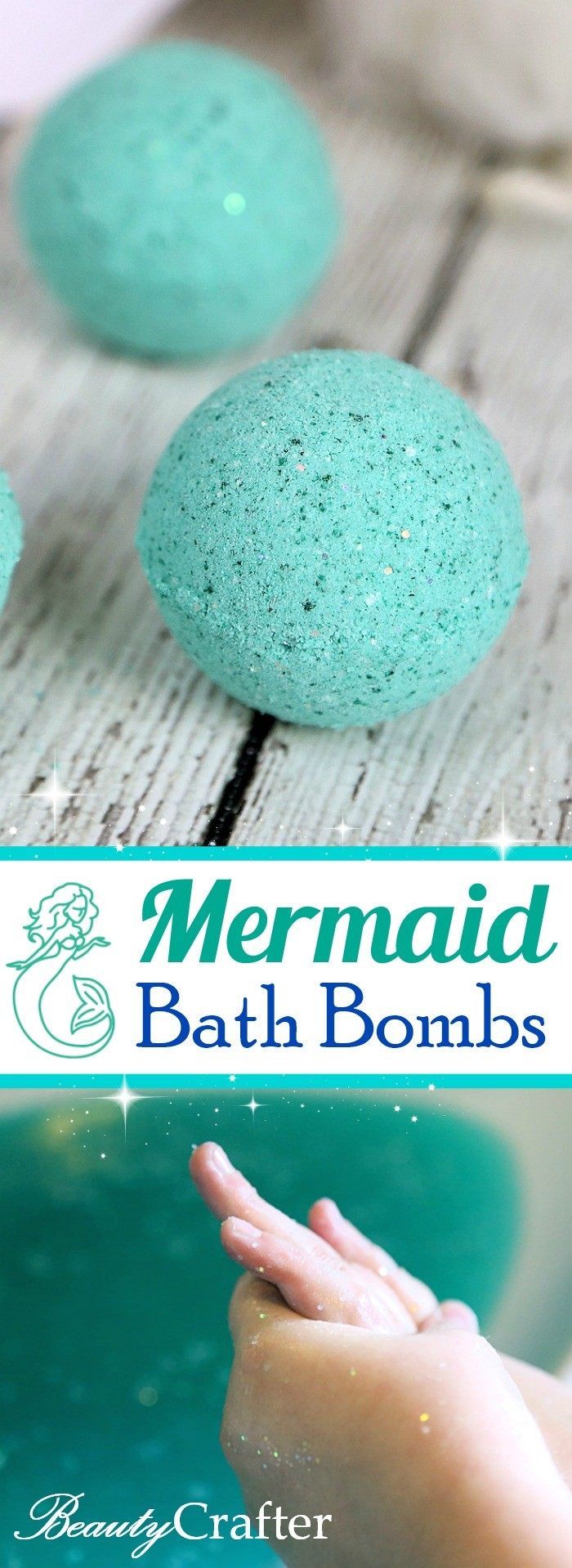 DIY Mermaid Bath Bombs : for a magical sparkling bath #bathbombs #mermaid #crafts #bathbomb