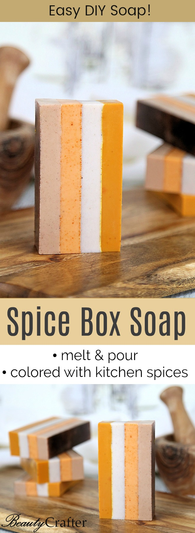 DIY Spice Soap  Melt and Pour soap Striped with Natural colors from kitchen spices. DIY gift idea. #soapmaking #diygifts #crafts #soap