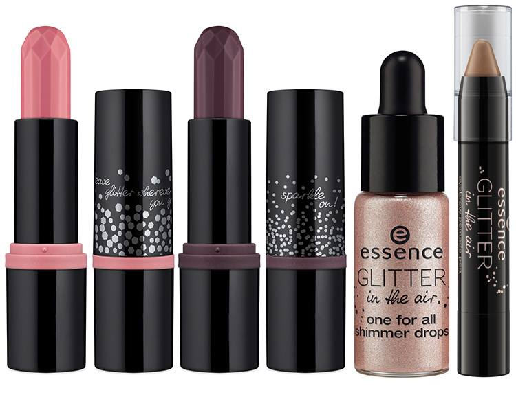 Шиммер - Essence One For All Shimmer Drops, Сияющий карандаш для бровей - Essence Eyebrow Pomade Pen, Помада - Essence Velvet Lipstick