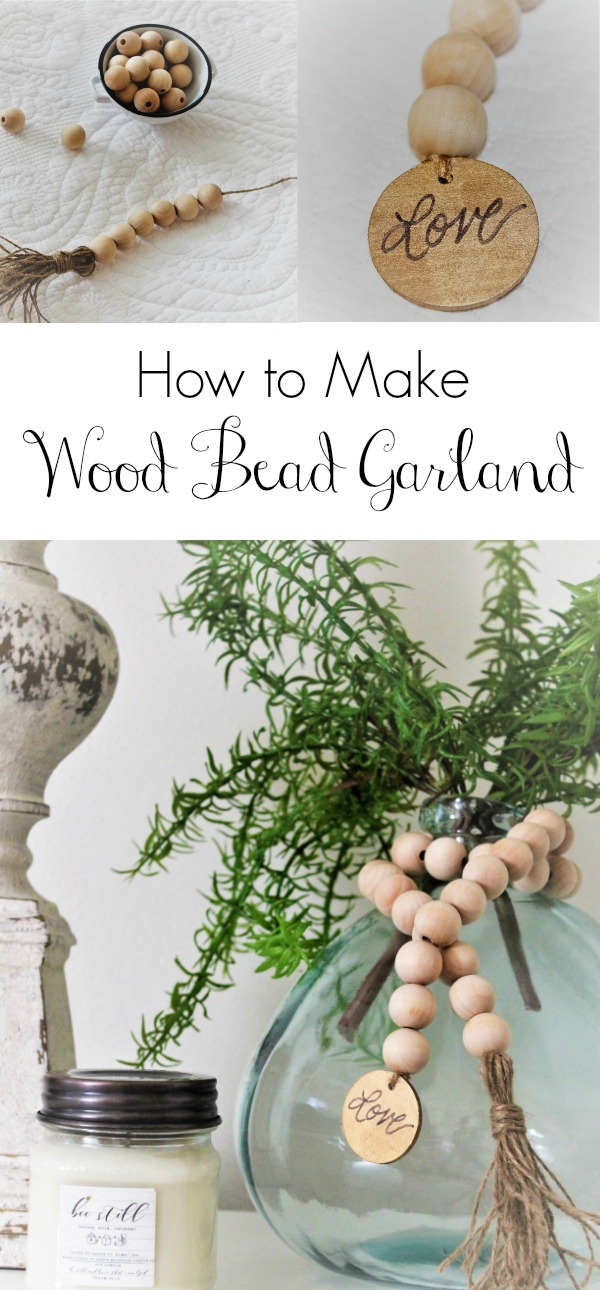 A step by step diy to make wood bead garland with tassels. An easy and inexpensive way to add farmhouse charm to your home.