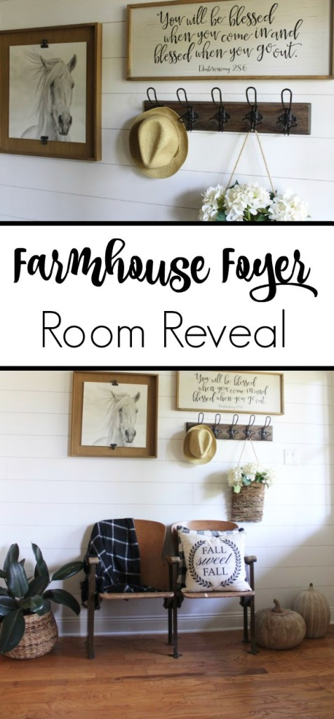 Transforming a traditional builder grade foyer to a modern farmhouse foyer. Get the fixerupper look with all the farmhouse style and feels.