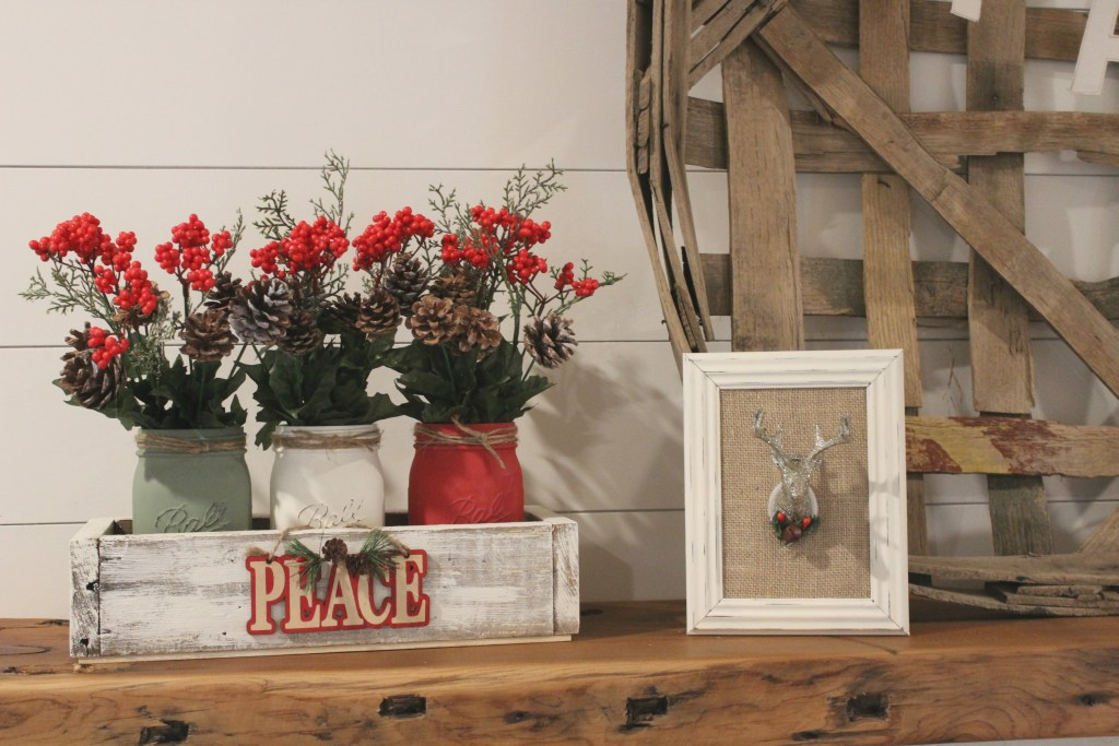 Three fun and easy DIYs to create farmhouse Christmas decor with Dollar Tree supplies. All 3 projects cost a total of $12!