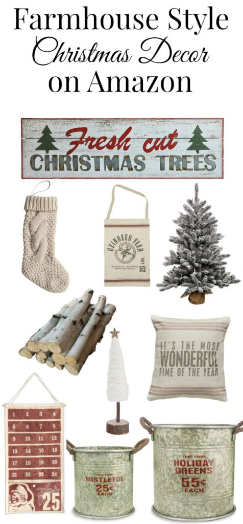 Shop for the best farmhouse Christmas decor on Amazon to get a cozy farmhouse Christmas look this year. Why fight the crowds when you can shop from home.